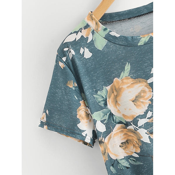 Random Flower Print Curved Hem Tee MULTICOLOR