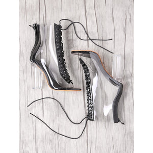 Lace Up Zipper Back Transparent Heels BLACK - Anabella's
