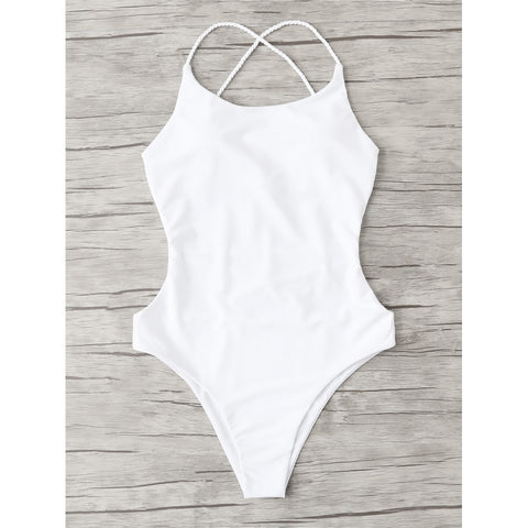 Open Back Criss Cross Swimsuit WHITE