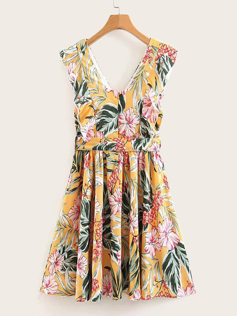 4a6af96b256 Floral Print Ruffle Trim Belted Swing Dress | Anabella's