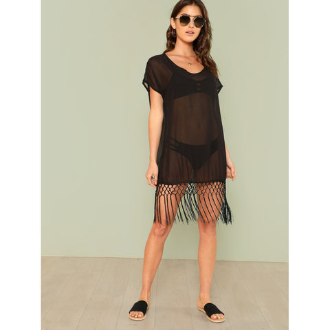 Fringe Hem Mesh Cover Up