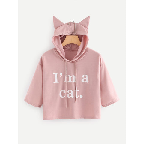 Slogan Print Crop Hooded Tee Pink