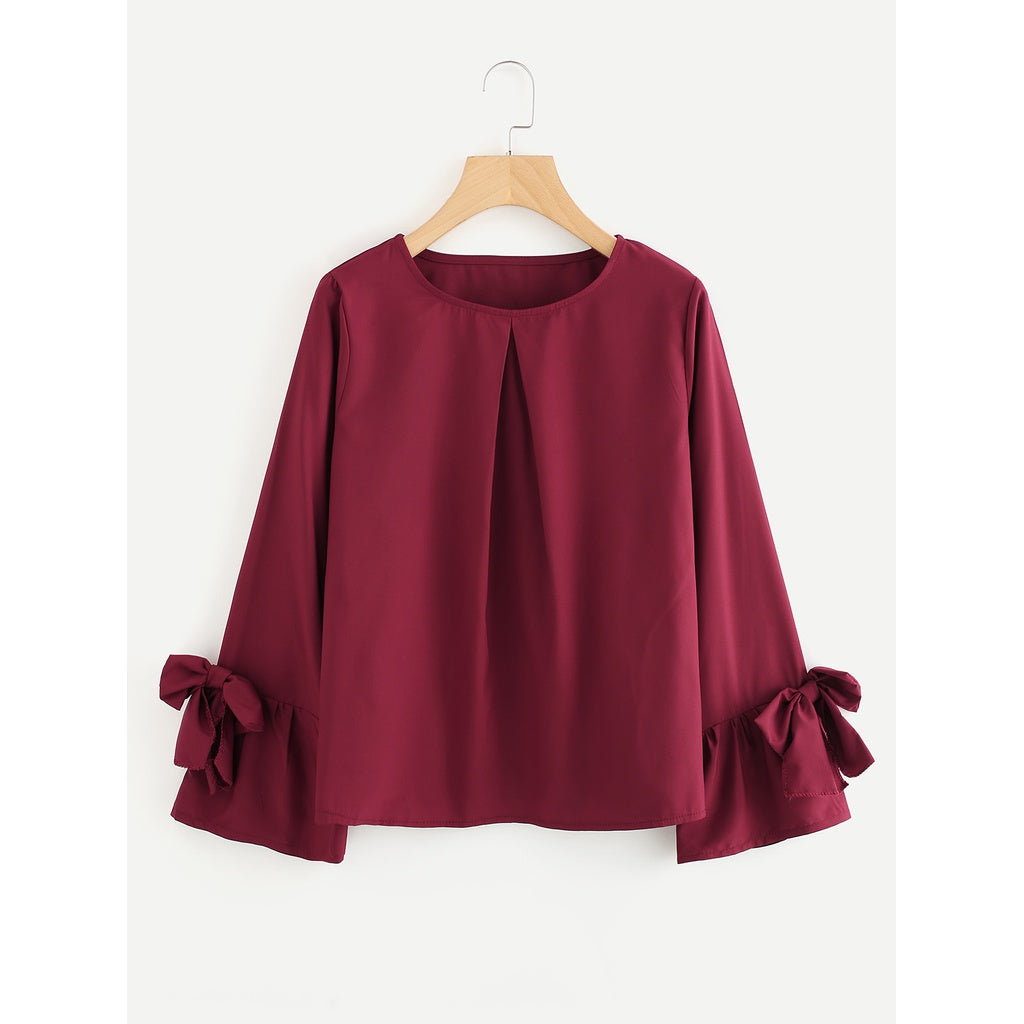 Bow Tie Sleeve Pleated Front Blouse