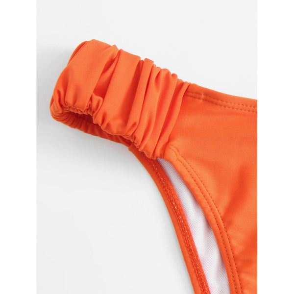 Bandeau Bikini Set With Detachable Strap ORANGE