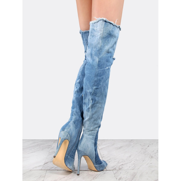 Distressed Denim Stiletto Boots DENIM - Anabella's