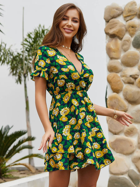 Sunflower Print Ruffle Hem Surplice Dress