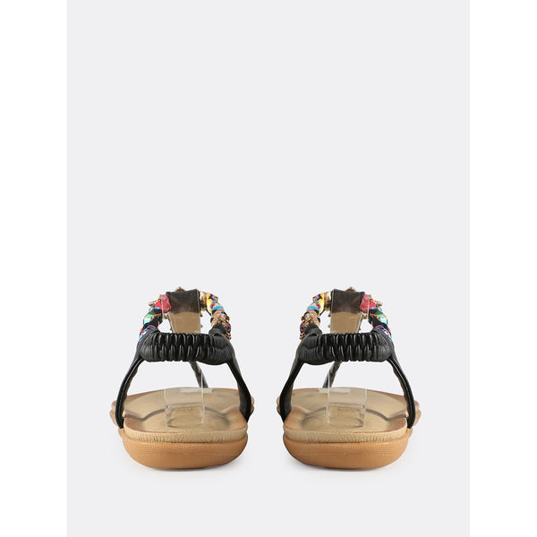 Embellished Braided Thong Sandals BLACK - Anabella's