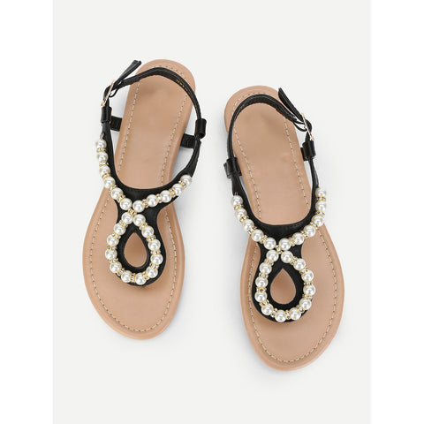 Faux Pearl Toe Post Flat Sandals Black