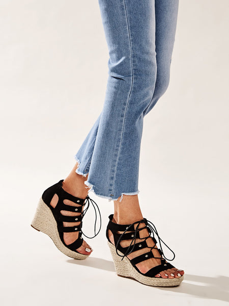 Open Toe Lace-up Front Espadrille Wedges