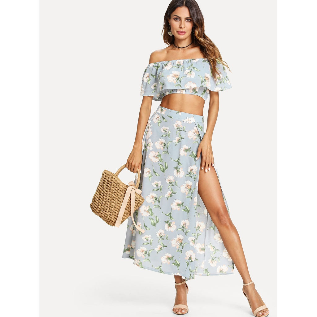 Bardot Floral Print Crop Top With Slit Side Skirt BLUE