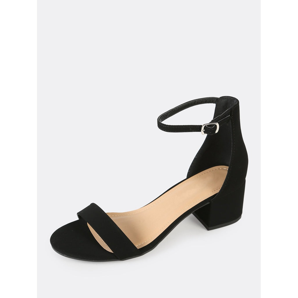 925dd719a3 Faux Suede Ankle Strap Low Block Heel BLACK   Anabella's