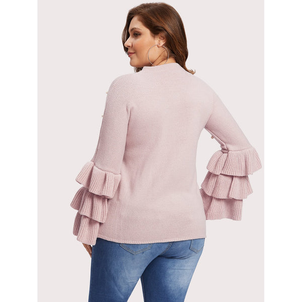 Tiered Sleeve Pearl Beaded Jumper - Anabella's