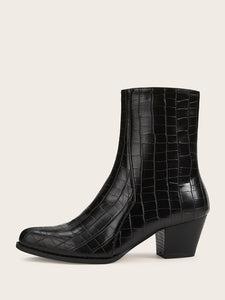 Side Zip Croc Embossed Chunky Boots