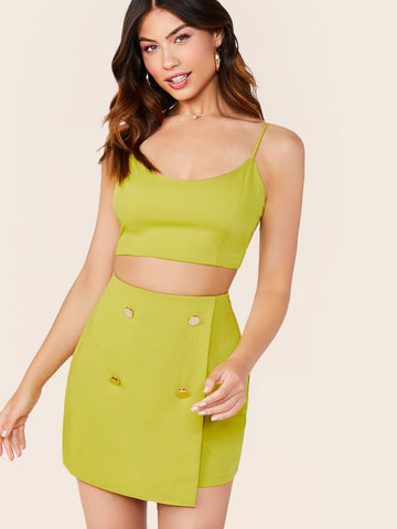 Cami Crop Top And Faux Wrap Skirt Set