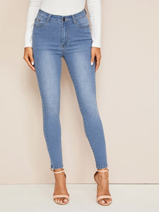 Light Wash Button Fly Skinny Jeans