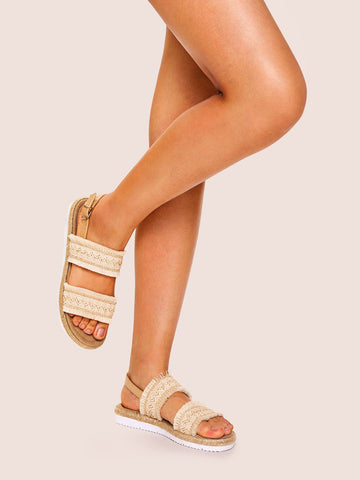 Fringe Trim Slingback Sandals