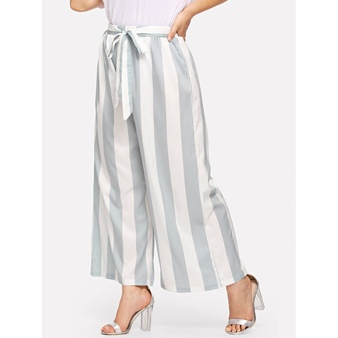 Plus Striped Wide Leg Pants with Belt
