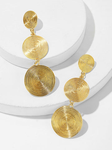 Layered Spiral Engraved Round Drop Earrings 1pair
