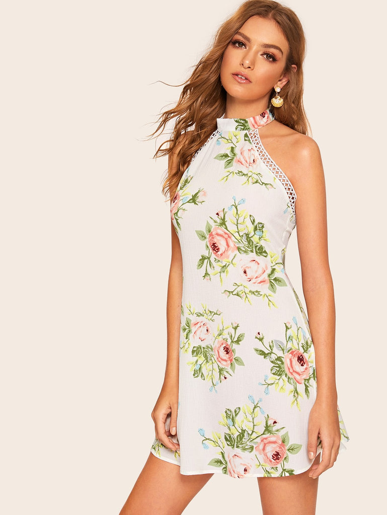 b6666925bf Floral Print Contrast Lace Backless Dress | Anabella's