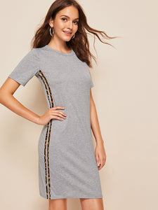 Contrast Leopard Tape Side Tee Dress