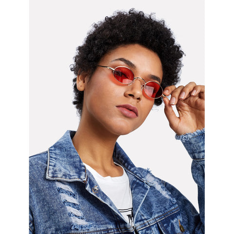 Oval Flat Lens Retro Sunglasses RED