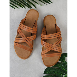 Criss Cross Strappy Band Slide Sandal TAN