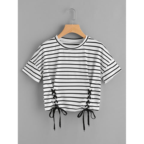 Striped Grommet Lace Up Dropped Shoulder Top