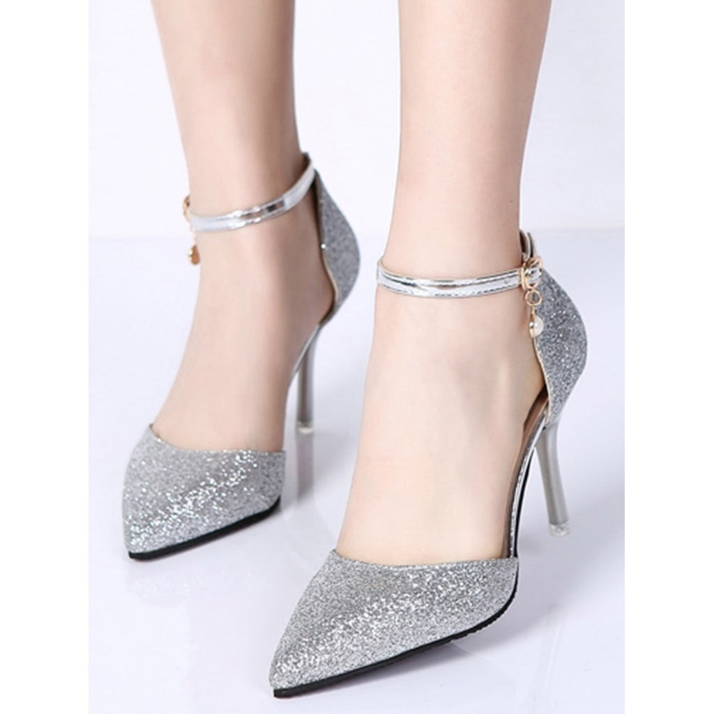 5c2915a077b0 Pointed Toe Glitter Heels Silver | Anabella's