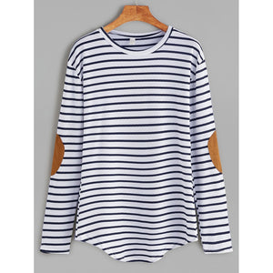 Elbow Patch Striped T-shirt Multi