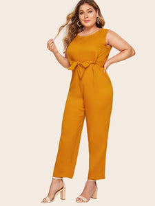 Plus Belted Zip Back Solid Jumpsuit