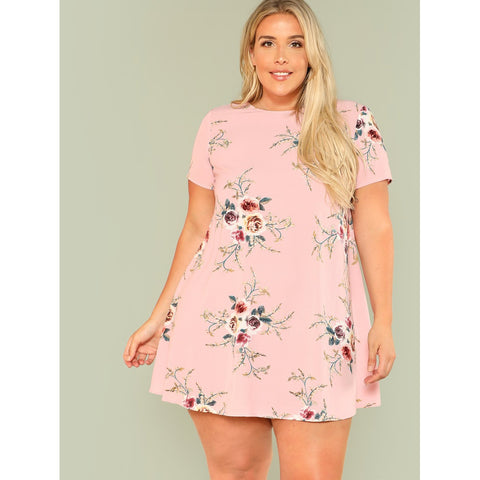 Plus Flower Print Tunic Dress Pink