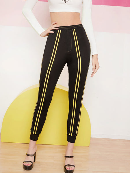 Contrast Striped Tape Sweatpants