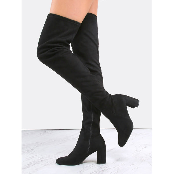 Suede Block Heel Thigh Boots BLACK - Anabella's