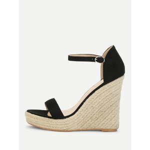 Two Part Espadrille Wedge Sandals