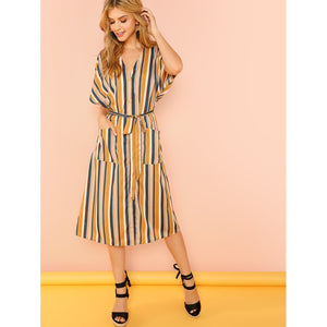 Pocket Patched Striped Button Up Dress