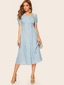 50s Button & Pocket Patched Gingham Dress