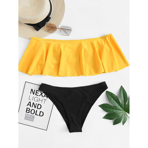 Off The Shoulder Bikini Set Yellow/Black