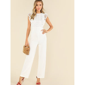 Lace Bodice Tailored Jumpsuit