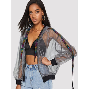 Zip Front Side Letter Sheer Jacket