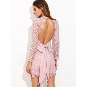 Bow Tie Open Back Embroidered Lace Dress