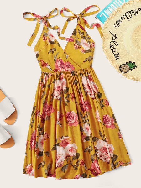 Knot Strap Backless Floral Print Wrap Dress