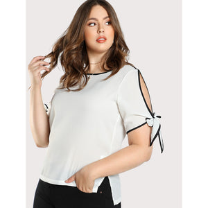 Contrast Binding Split Tie Sleeve Top WHITE - Anabella's