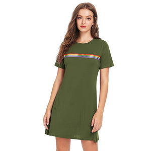 Contrast Striped Tee Dress Army Green