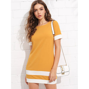 Color Block Stripe Short Sleeve Shift Dress Ginger