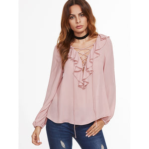 V Neckline Lace Up Frill Trim Blouse