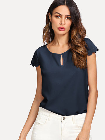 Keyhole Neck Layered Scallop Sleeve Top