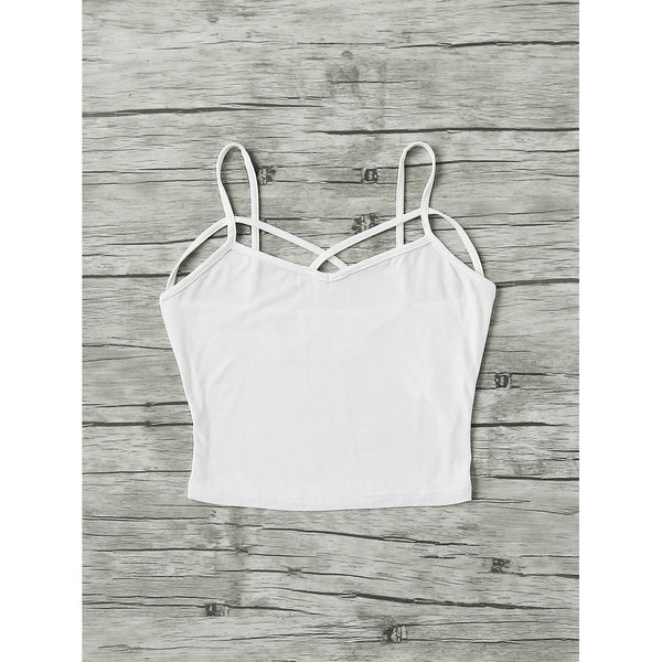 Crisscross Strappy Crop Cami Top WHITE