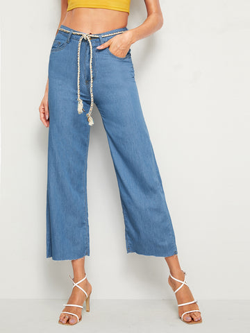Rope Belted Wide Leg Crop Jeans