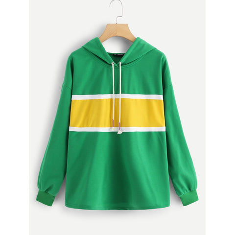 Plus Color Block Drawstring Hoodie