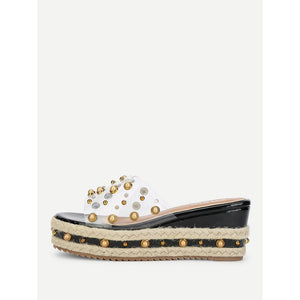 Faux Pearl Decorated Wedge Sandals Black